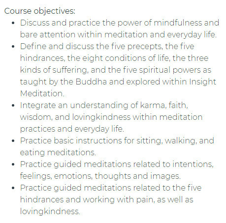 Insight Meditation Course Objectives